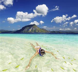 Snorkeling In Beautiful Tropical Beach