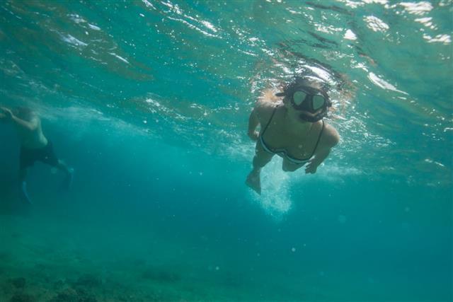 Female Snorkeling In Tropical Waters
