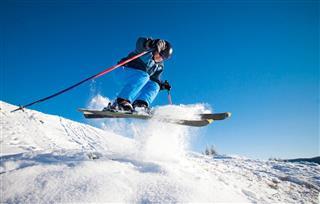 Man Practicing Extreme Ski