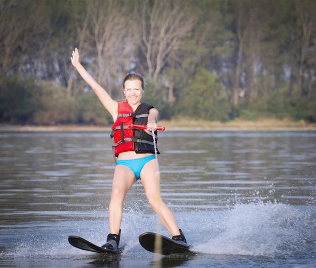 Beautiful Woman Water Skiing