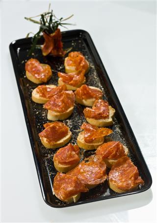 Tray Of Salami Canapes