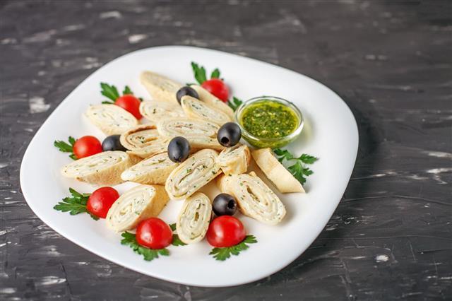 Pancake With Feta Cheese And Pesto Sauce