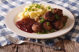 Meatballs Lingonberry Sauce Potato Closeup