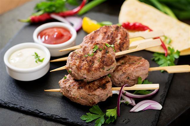 Appetizing Kofta Kebab With Sauce