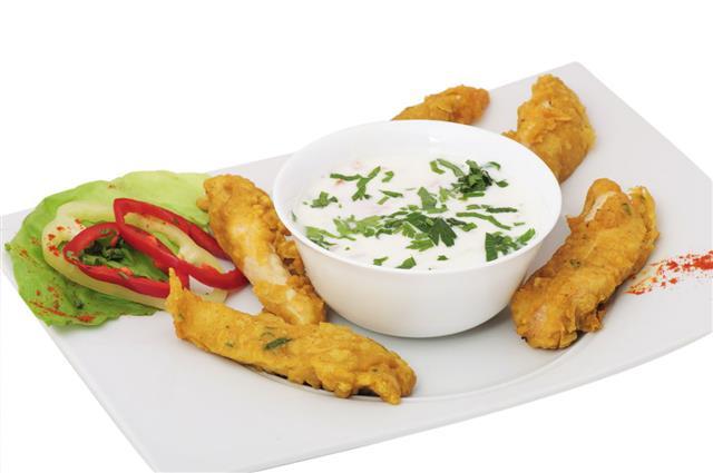 Fried Chicken With Yogurt Salad