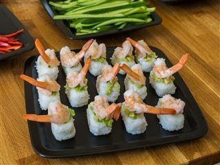 Nigiri With Shrimps And Avocado