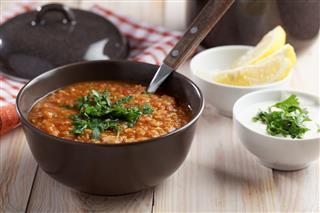 Red Lentil Soup And Greek Yogurt