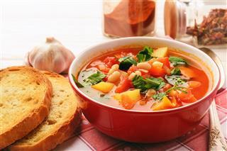 Hot Bean Soup With Bacon