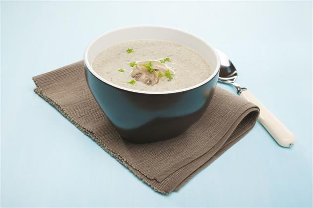 Mushroom Soup In Black Bowl
