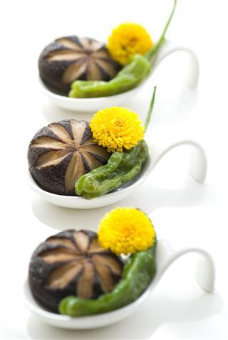 Shiitake Green Pepper On Spoon