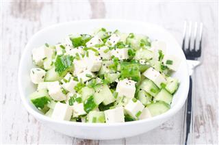 Salad With Cucumber Tofu Green Onions