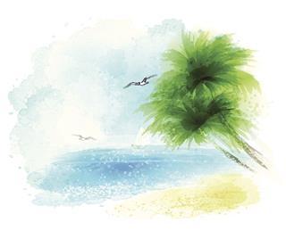 Watercolor Sea Landscape