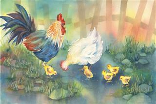 Barnyard Chickens Painting