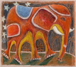 Elephant Pastel Drawing
