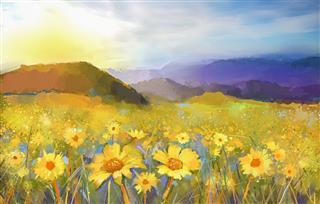 Daisy Flower Blossom Painting