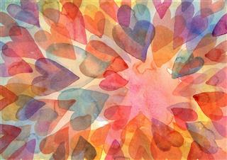 Watercolor Layered Hearts Painting
