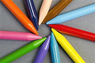 Multicolor Crayons Arranged In Circle