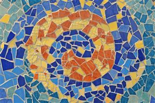 Mosaic Wall From Broken Ceramic Tiles