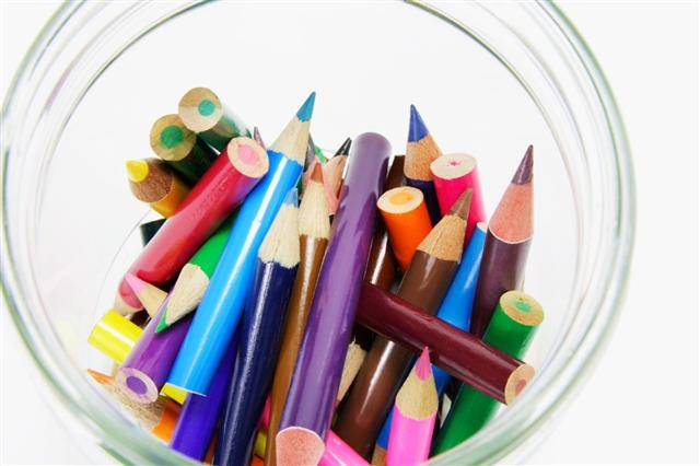 Short Colour Pencils In Glass Jar