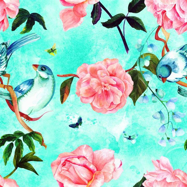 Watercolor Bird And Rose