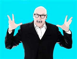 Pop Art Portrait Of Businessman Yelling