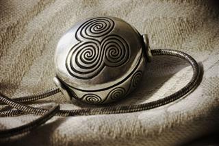 Celtic Design Necklace On Linen