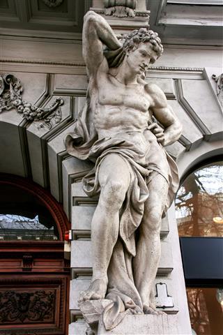Statue Of Atlas On Andrassy Street