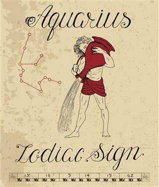 Zodiac Sign Of Aquarius With Constellation