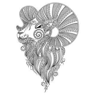 Ram head with design