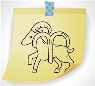 Aries symbol on paper