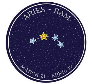 Aries zodiac constellation in space