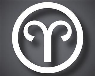 Zodiac sign aries in circle