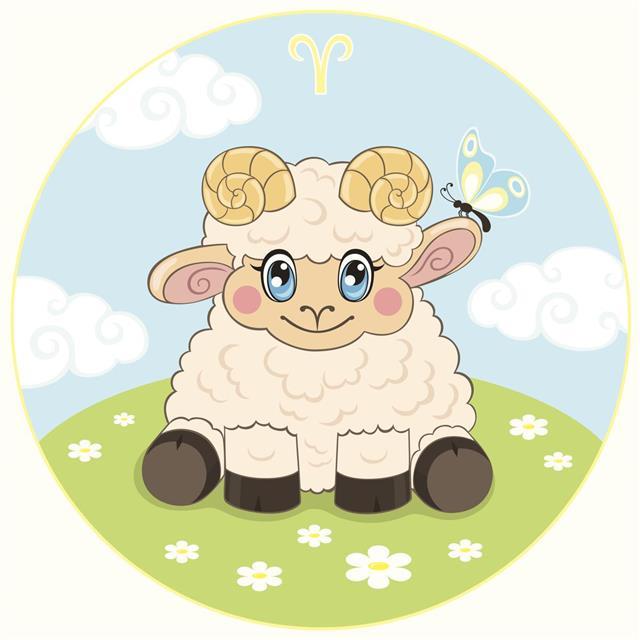 Aries zodiac sign in cartoon