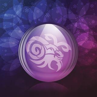 Zodiac Sign Capricorn On Snow Globe