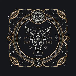 Capricorn Zodiac Sign Label