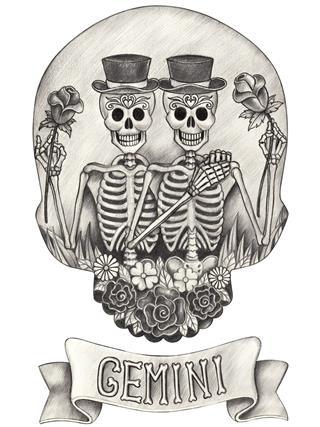 Zodiac Skull Gemini