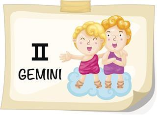 Twins with zodiac symbol gemini