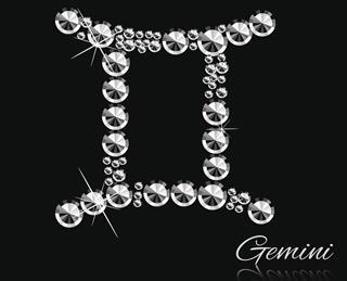 Gemini sign made from diamond