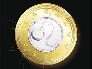 Zodiac leo sign on coin