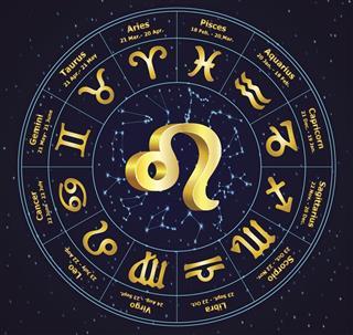 Zodiac leo in circle