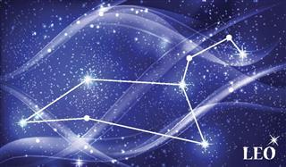 Leo constellation in night sky