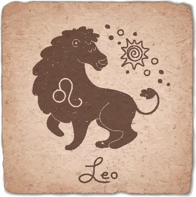 Leo zodiac sign on vintage card