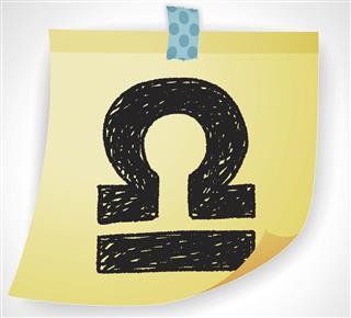 Libra symbol on paper