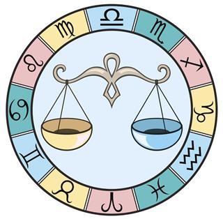 Libra zodiac sign with horoscope circle