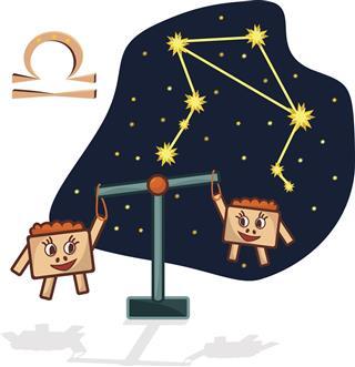 Libra constellation with libra symbol