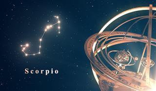Zodiac Constellation Scorpio And Armillary Sphere
