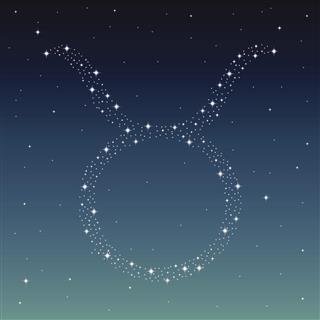 Taurus zodiac symbol created from stars
