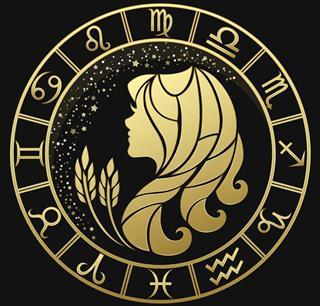 Virgo zodiac symbol with horoscope circle