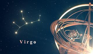 Zodiac Constellation Virgo And Armillary Sphere