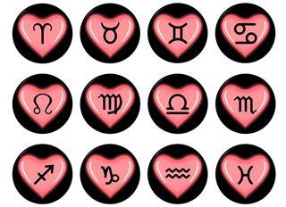 Zodiac signs in heart shape